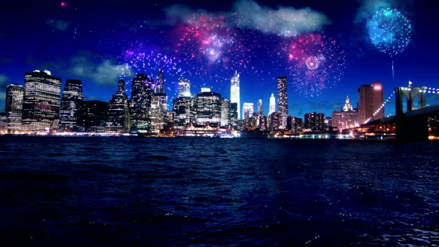 New York Manhattan night fireworks video