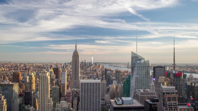 new york manhattan panorama - time lapse - манхэттен стоковые видео и кадры b-roll