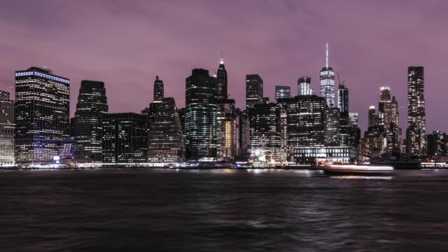 T/L TU New York Manhattan Skyline at Night video