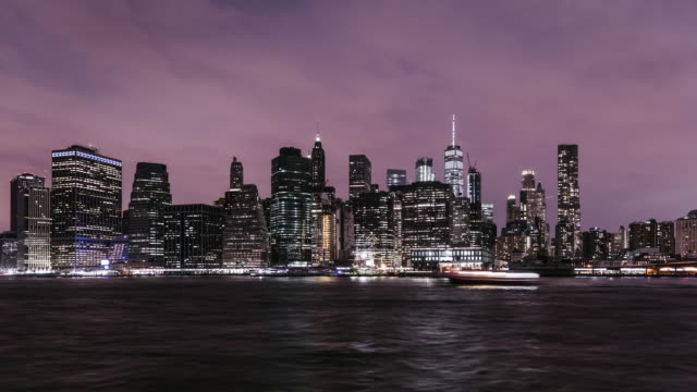 T/L ZI New York Manhattan Skyline at Night video