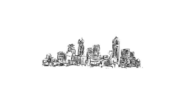 new york panorama outline animation hand drawn sketch - набросок стоковые видео и кадры b-roll