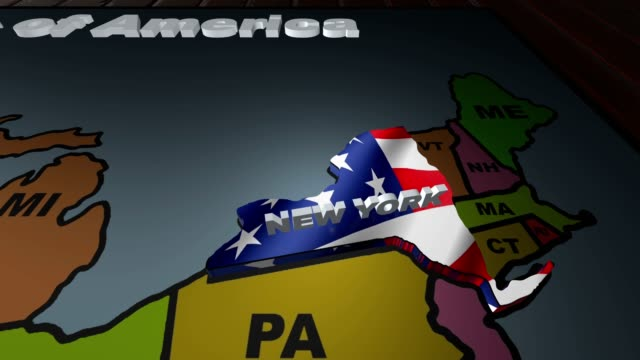 New York pull out from USA states abbreviations map video