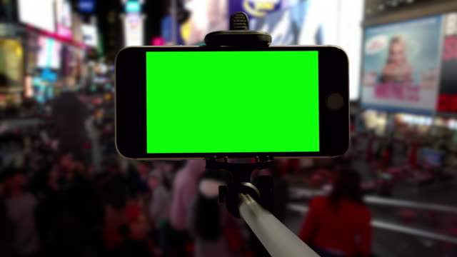 New York selfie Time Square people crowd green screen chromakey video