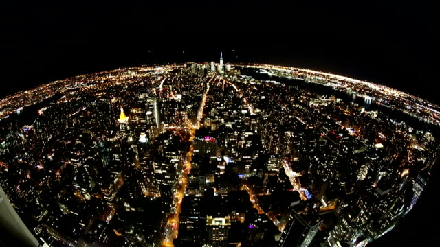 New York Skyline.Planning up effect and Fish eye lens. video
