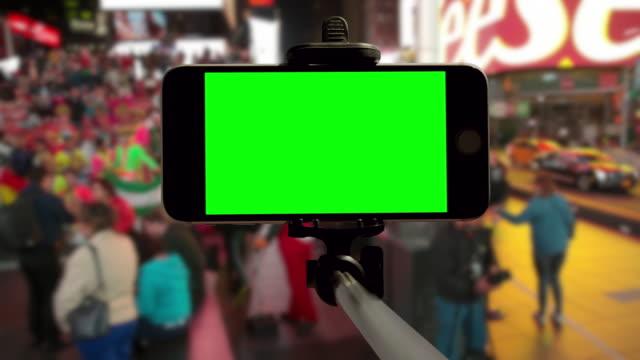 New York smartphone POV mobile Time Square green screen chromakey video