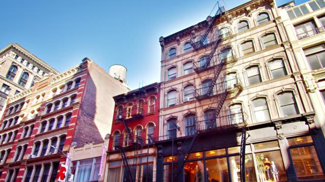 New York Soho Neighborhood. Retro Buildings. Creative View. City Life New York Cityscape new york architecture stock videos & royalty-free footage
