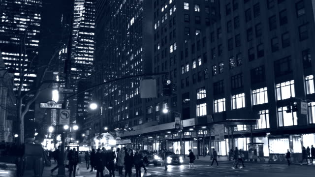 New York street at night video