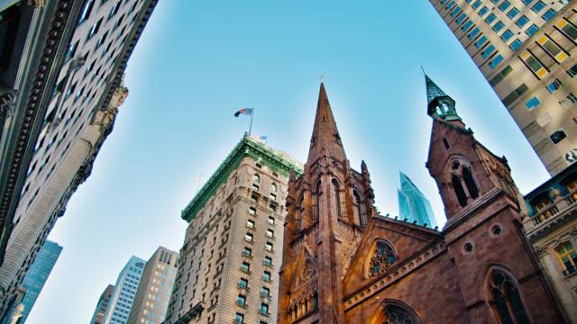 New York street skyline. Fifth Avenue Presbyterian Church. Office Building. Financial. Downtown.