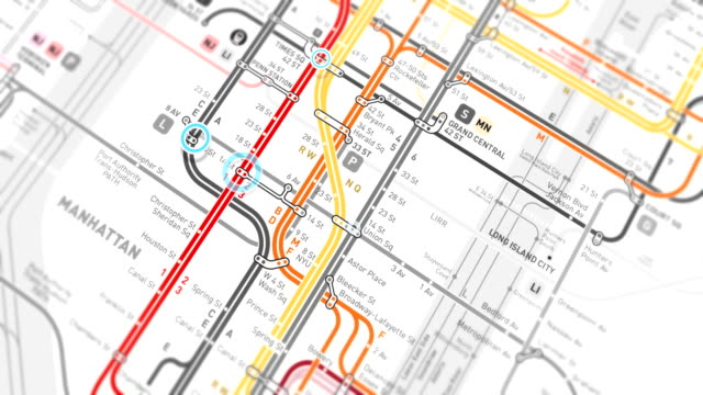 New York Subway Map Localization - Seamless 4K loop NYC Subway Map, Connection, Loopable Elements, City, Computer Network new york city subway stock videos & royalty-free footage