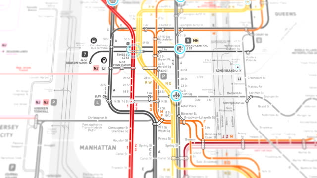 New York Subway Map Localization - Seamless 4K loop