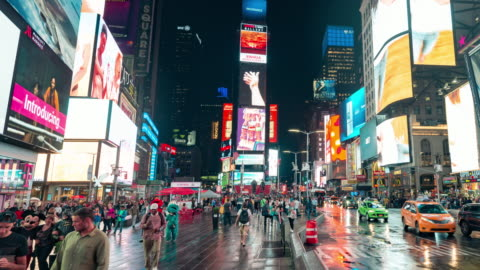 New York Times Square Time Lapse Panorama New York Times Square time lapse panning video at night advertisement stock videos & royalty-free footage