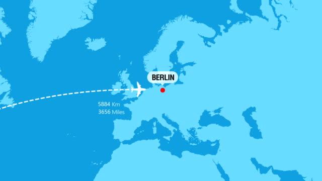 rotta di viaggio da new york a berlino - europa continente video stock e b–roll