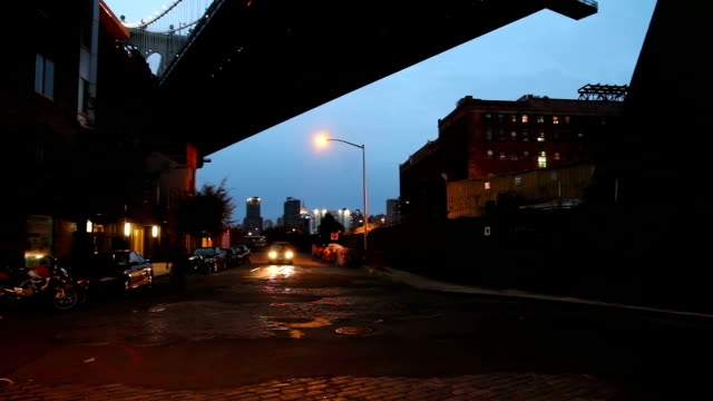 New York, under the Manhattan Bridge, DUMBO Under the Manhattan Bridge,  in DUMBO, Brooklyn. manhattan bridge stock videos & royalty-free footage