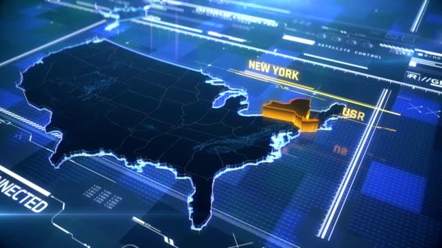 stockvideo's en b-roll-footage met new york amerikaanse staat grens 3d moderne kaart met een naam, regio outline - new world