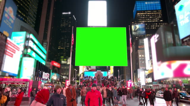 New York winter Time Square people crowd green screen chromakey