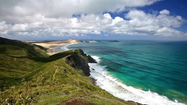 nowa zelandia przylądek reinga przesuwanie - krajobraz morski filmów i materiałów b-roll