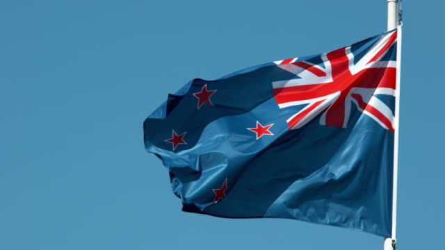 New Zealand Flag Waving in the Wind, Slow Motion 4K video