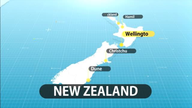 vídeos y material grabado en eventos de stock de mapa de nueva zelanda - nueva zelanda