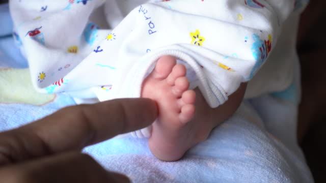 newborn baby and little feet - dito del piede video stock e b–roll