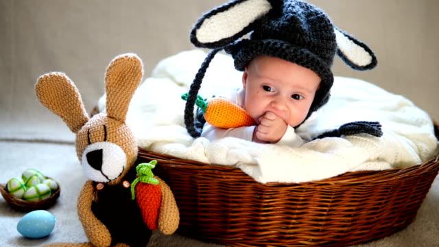 neugeborener junge trägt hasen-ohren und schwanz in einem korb. - menschlicher kopf stock-videos und b-roll-filmmaterial