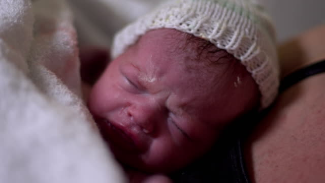 4K: Newborn Baby in Hospital Maternity Delivery room video