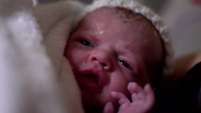 4K: Newborn Baby in Hospital Maternity Delivery Suite video