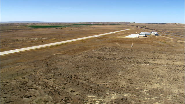 Newcastle Airfield - Aerial View - Wyoming, Weston County, United States This clip was filmed by Skyworks on HDCAM SR 4:4:4 using the Cineflex gimbal. airfield stock videos & royalty-free footage