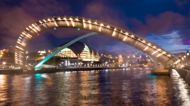 newcastle gateshead millennium bridge - contemporary architecture stock videos & royalty-free footage