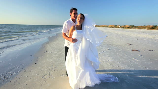 Newly Married Couple on the Beach video