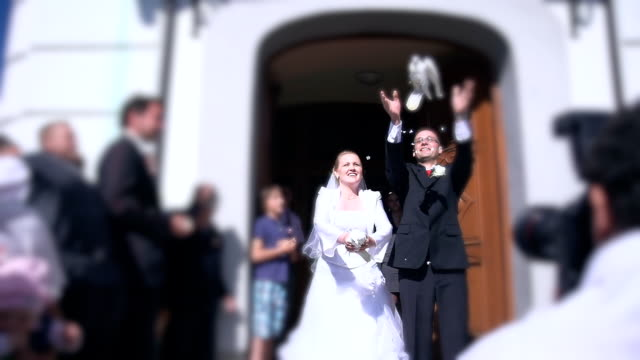 HD SUPER SLOW-MO: Newlywed Couple Releasing Pigeons video
