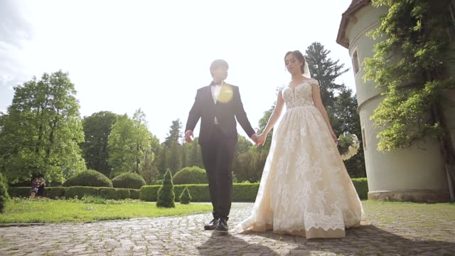newlyweds are walking in the park near the big castle. beautiful bride with handsome groom - video di matrimonio video stock e b–roll