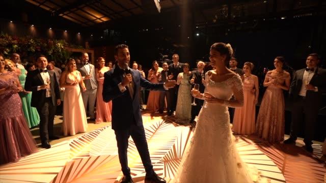 Newlyweds talking on wedding party Newlyweds talking on wedding party newlywed stock videos & royalty-free footage