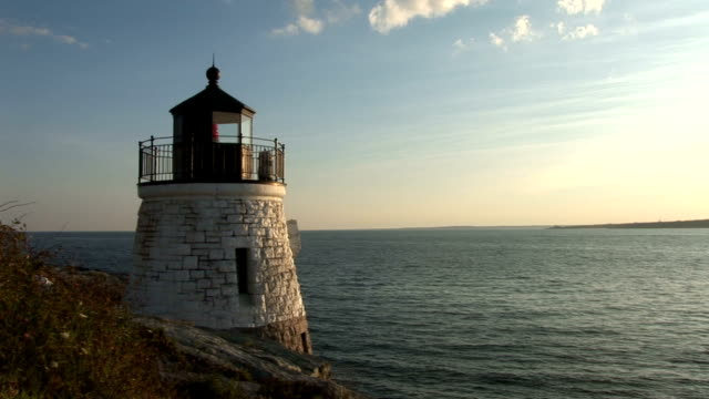 Newport, Rhode Island, beautiful beacon in the sunset video