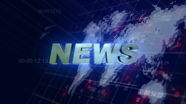 news opening 3d motion graphics world map blue background 4k - servizi video stock e b–roll