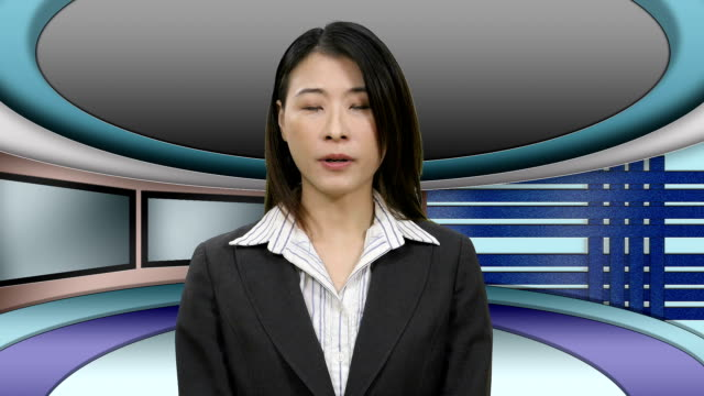 TV News presenter in Television Studio Asian TV News presenter in Television Studio television host stock videos & royalty-free footage