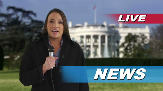 News reporter speaking in front of White House  cable tv stock videos & royalty-free footage