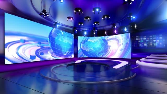 news studio virtual set stock video - studio filmów i materiałów b-roll