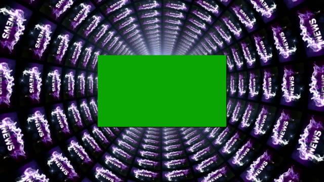 news text in monitors tunnel, with green screen monitor - paper mass bildbanksvideor och videomaterial från bakom kulisserna