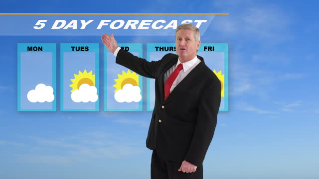 News weather man giving forecast video