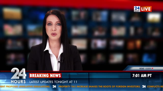 HD: Newscaster Reading The Breaking News video