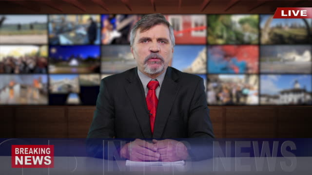4K Newscaster Reading The Breaking News 4K Newscaster Reading The Breaking News news stock videos & royalty-free footage