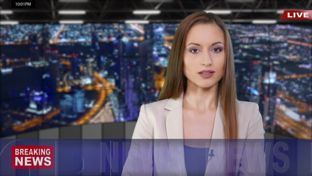 newscaster reading the breaking news - news video stock e b–roll