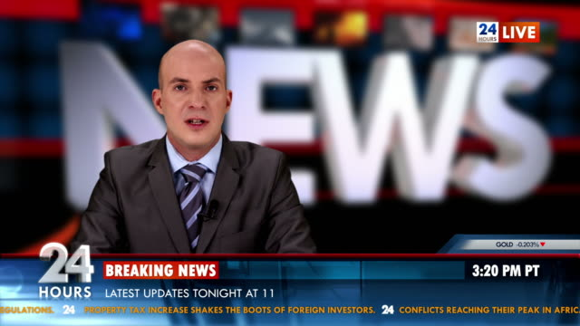 HD: Newscaster Reading World Report News video