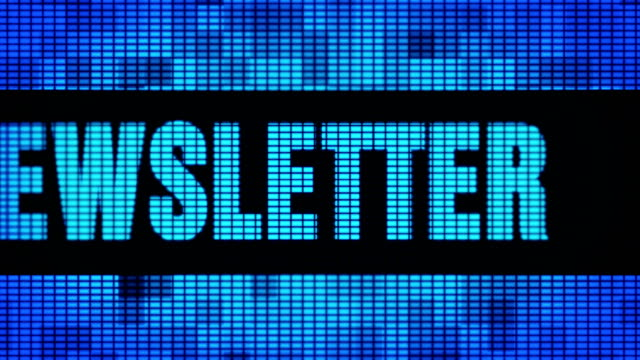 newsletter front text scrolling led wall pannel display sign board - newsletter video stock e b–roll