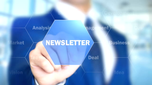 newsletter, man working on holographic interface, visual screen - newsletter video stock e b–roll