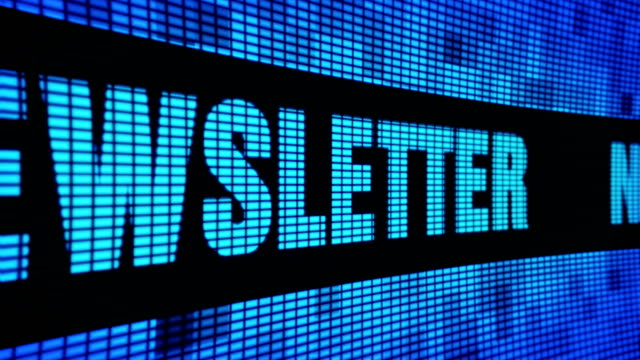 newsletter side text scrolling led wall pannel display sign board - newsletter video stock e b–roll