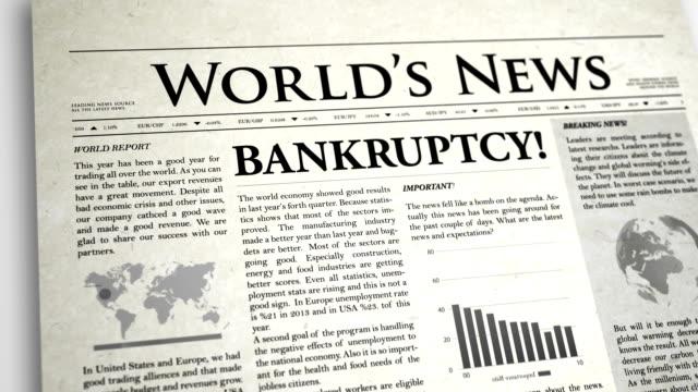 Newspaper Headline: Bankruptcy Newspaper Headline: Bankruptcy bankruptcy stock videos & royalty-free footage