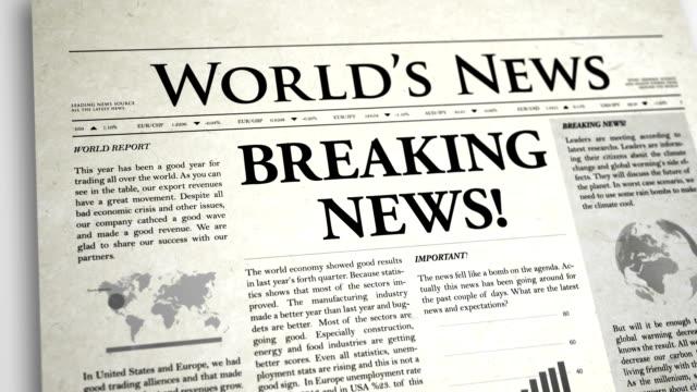 Newspaper Headline: Breaking News video