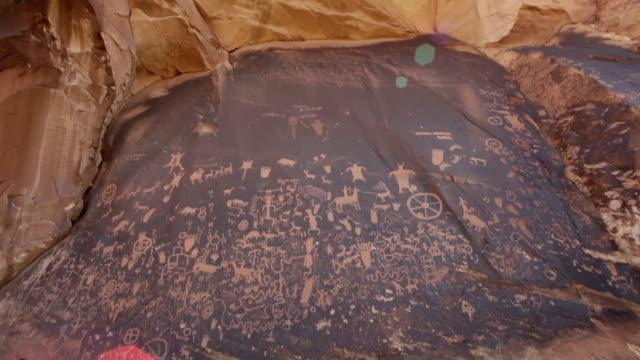 Newspaper Rock State Park petroglyphs lens flare Utah