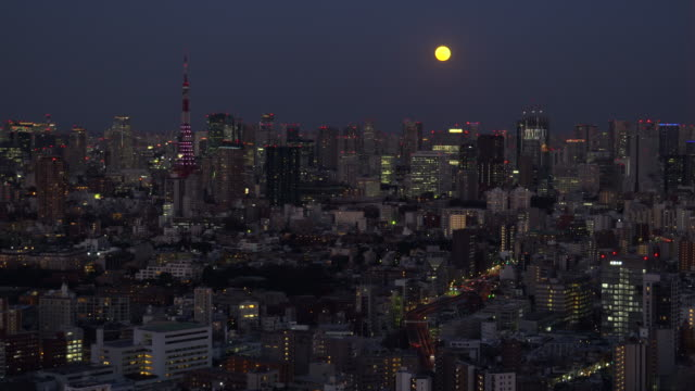 new/Tokyo Cityscape - Moon rising above the skyscrapers